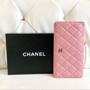 Chanel Pink Lambskin Yen Wallet